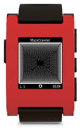 A screenshot from MazeCrawler as seen on a red Pebble smartwatch.