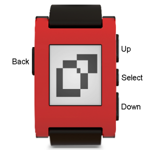 """The Pebble's four buttons: """"Back"""" on the left side and """"Up,"""" """"Select,"""" and """"Down"""" on the right side."""