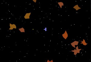 "A screenshot from my ""Asteroids"" Python game."