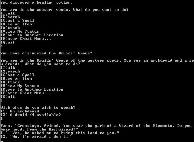 A screenshot from Words of Power, a text-based fantasy RPG written in C.
