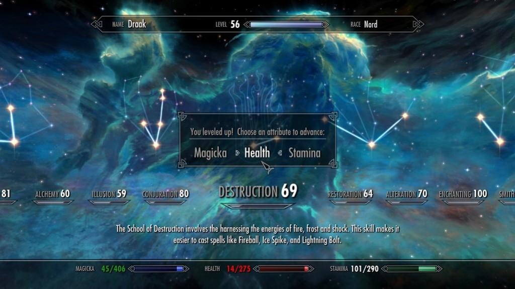 The level-up screen in The Elder Scrolls V: Skyrim.